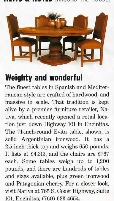 Orange County Home Magazine – Weighty and Wonderful