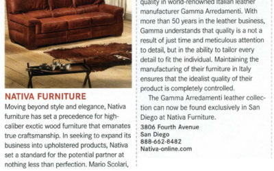 San Diego Magazine – Nativa Furniture