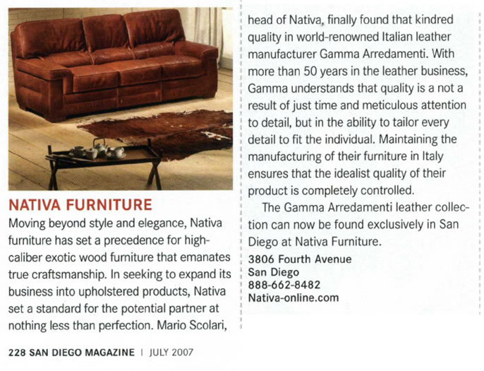 San Diego Magazine - Nativa Furniture