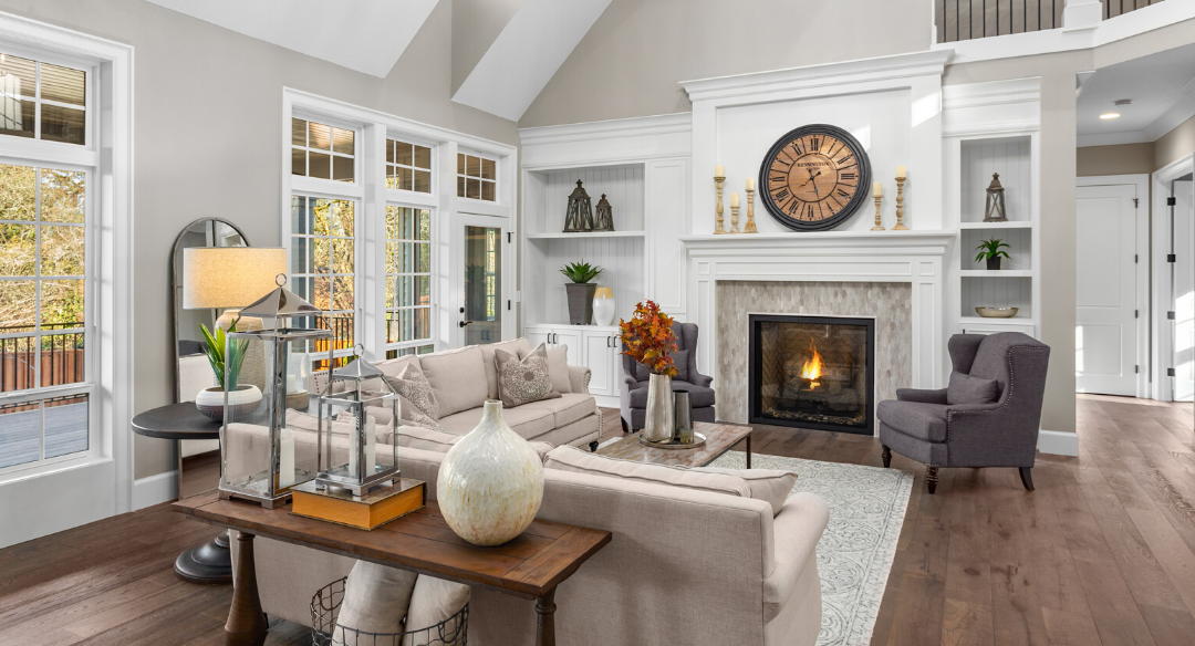 Traditional styled living room with high vaulted ceilings