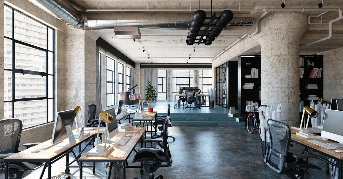 Interior shot of industrial style office