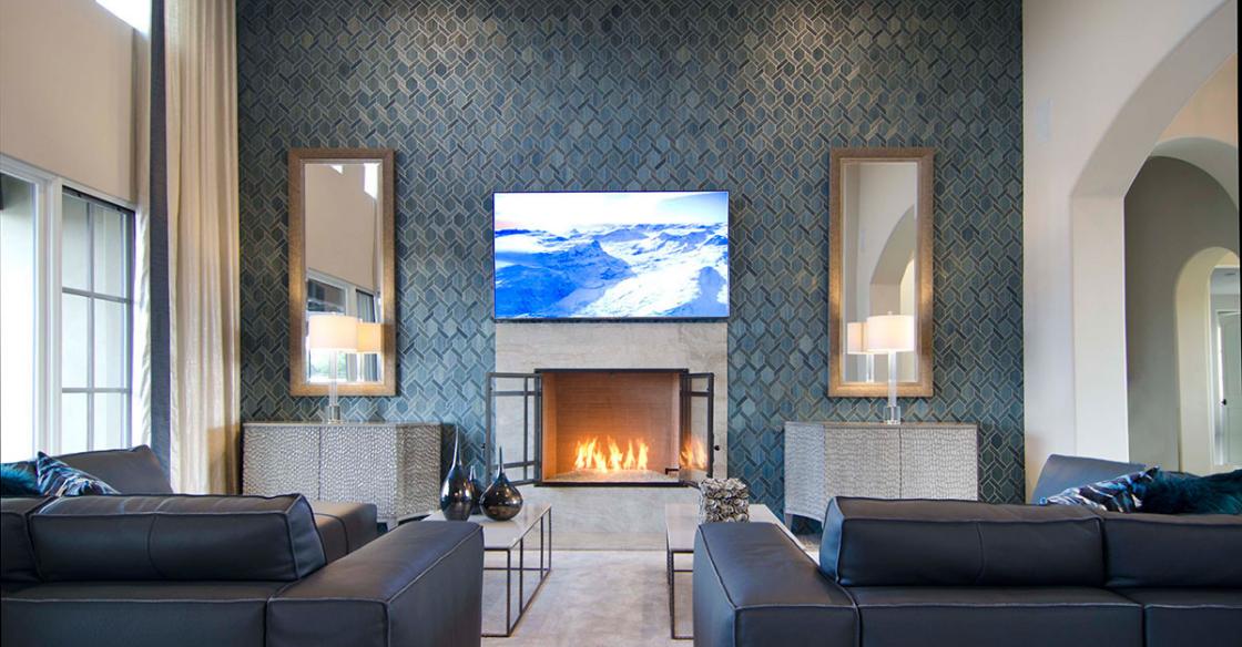 Mosaic tiling in a Nativa designed living room