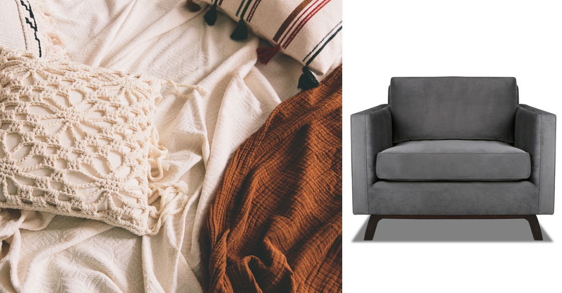 Cozy fabrics and Nativa's Chantel accent chair