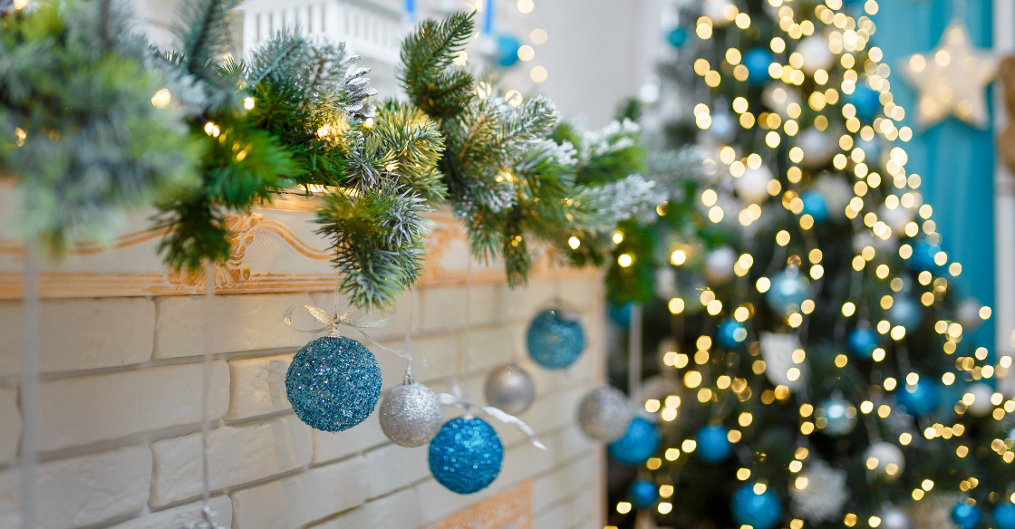 Blue holiday decor