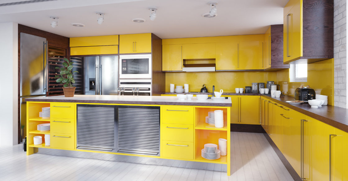 Illuminating yellow kitchen
