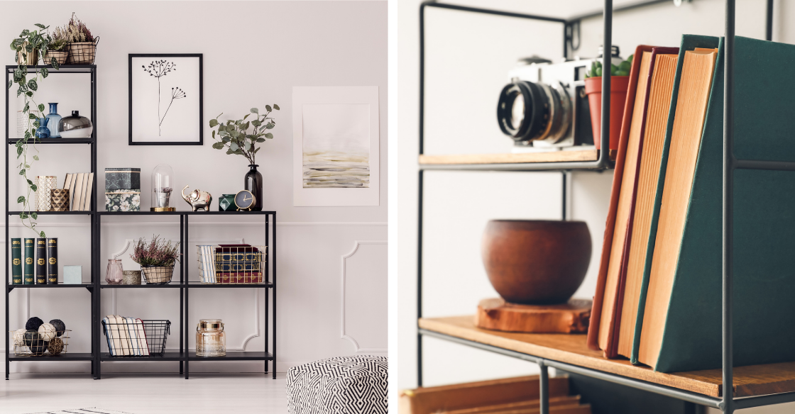 bookcase styled with accessories