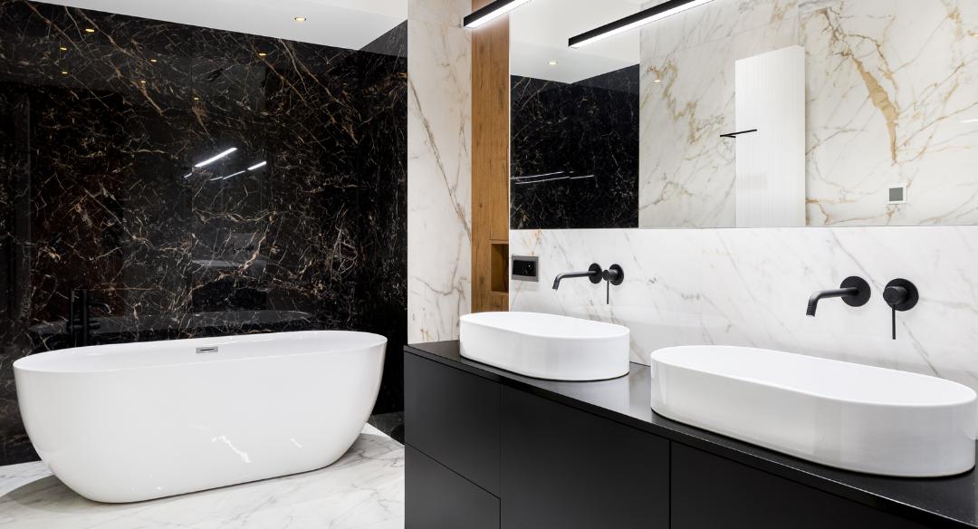 Modern bathroom with black marble