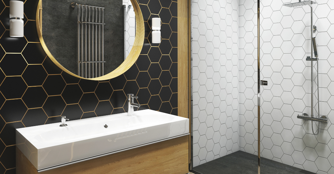 Bathroom with trendy tile