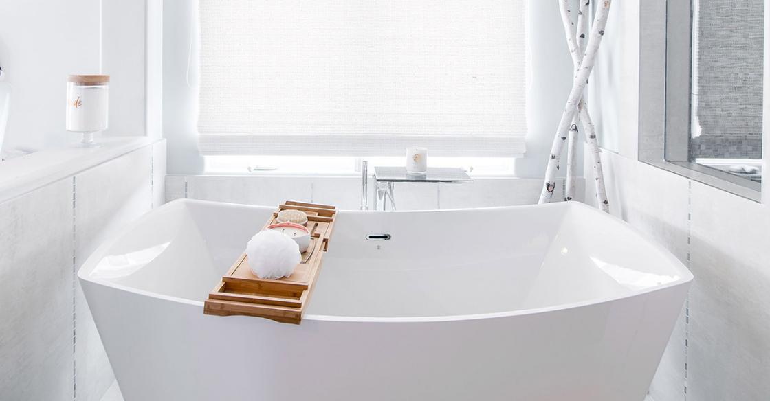 Modern white bathroom with freestanding tub