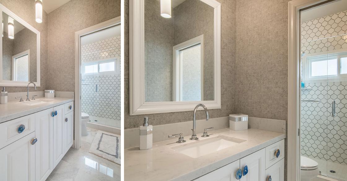 Bathroom with unique geode cabinet hardware