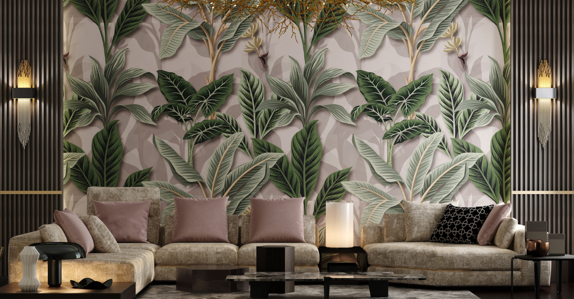 Living room with tropical print wallpaper