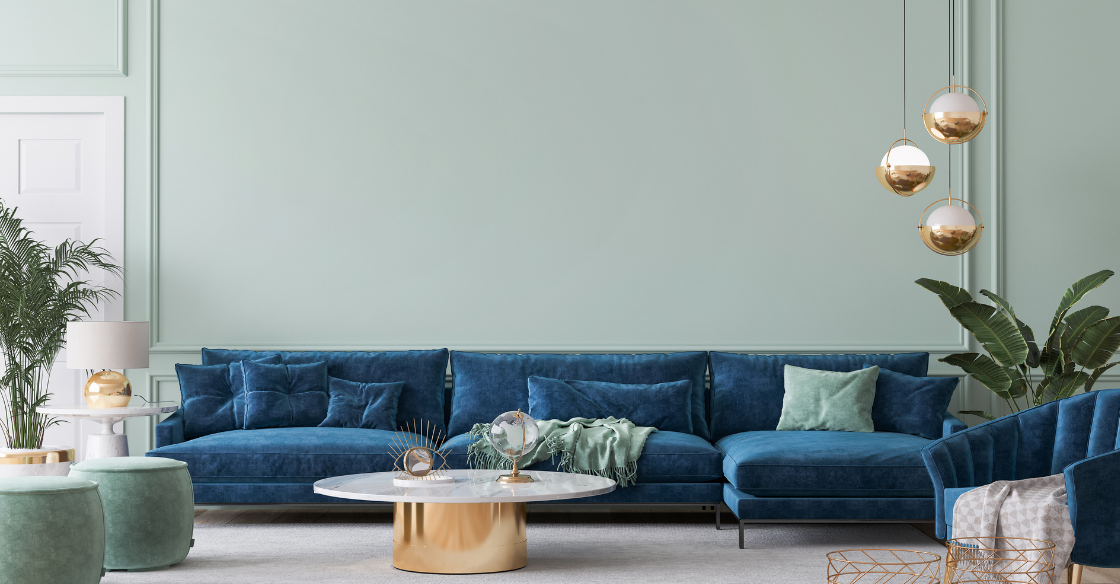 Living room with a blue color scheme