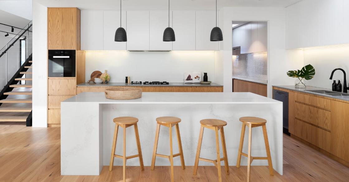 clean, airy kitchen