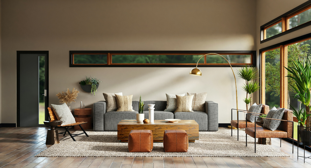 Living room with natural decor