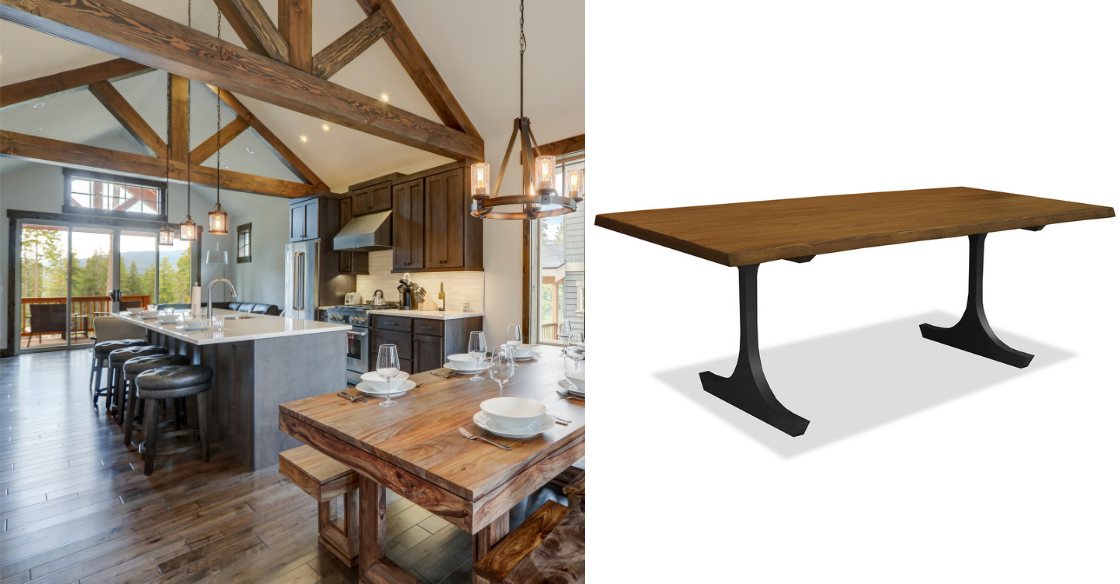 Reclaimed wood dining table and house with wood beams