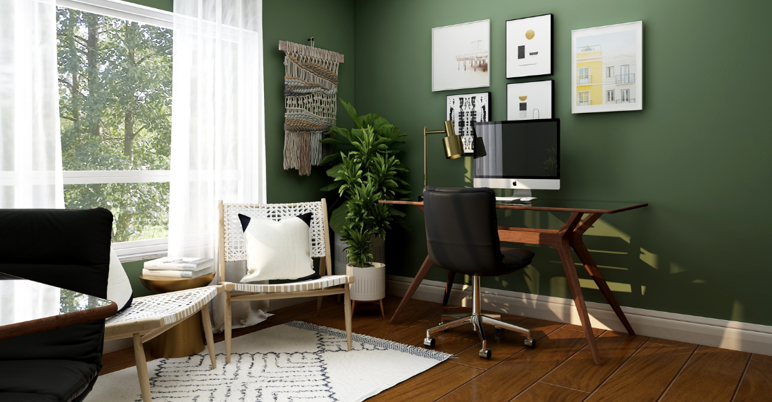 Modern home office with green walls