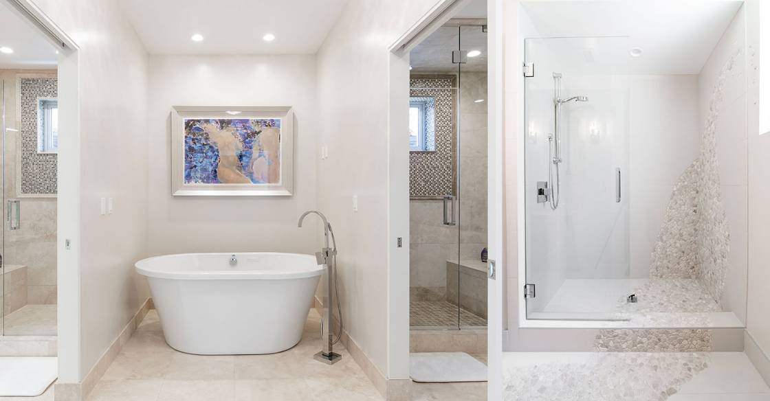 Bathroom with walk-in showers and free standing tub