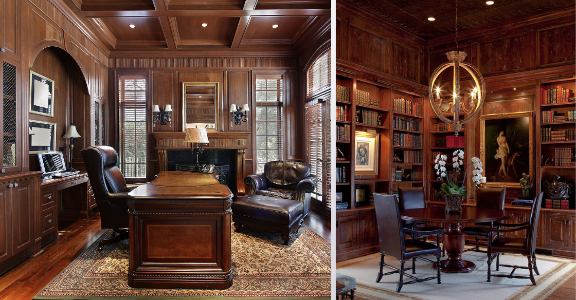 Traditional home offices with dark wood paneling