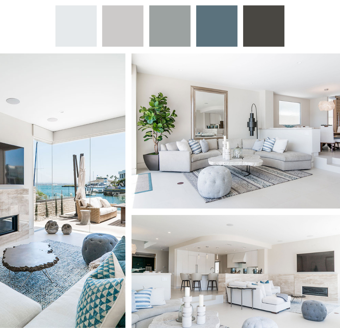 Different angles of the coastal-inspired living room and color palette